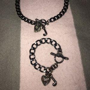 Juicy Couture Necklace & Bracelet Set w/ Satin Bag